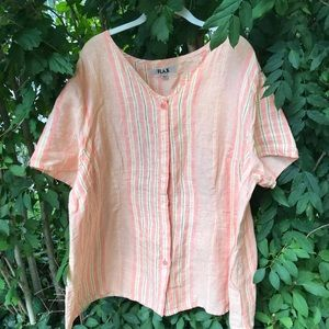 Flax linen salmon striped top Sz 3G